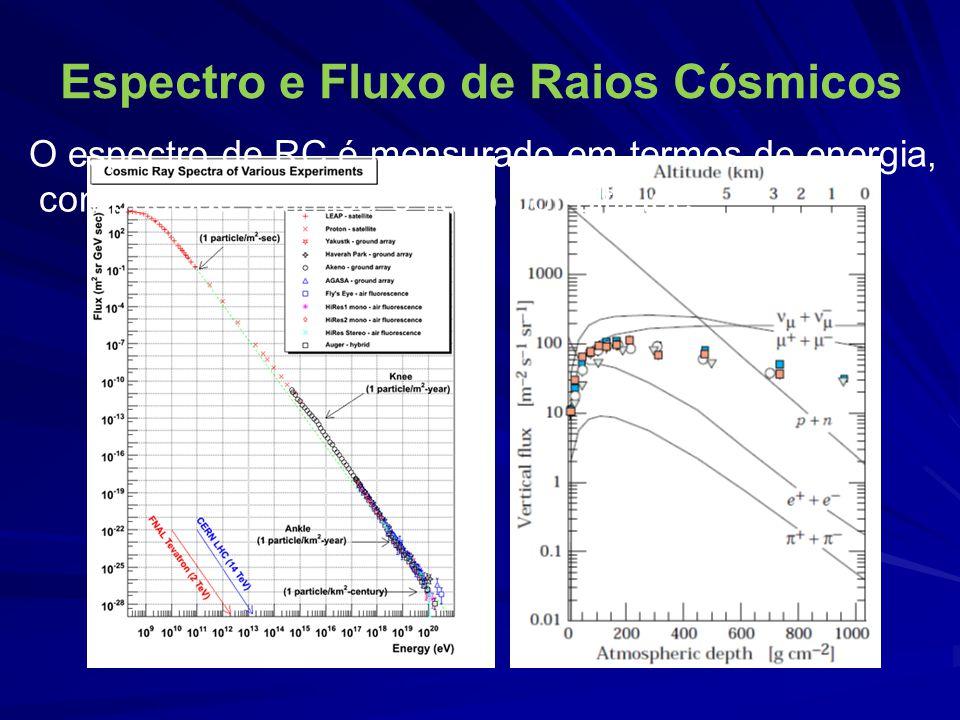 Detecção de múons - técnicas Câmaras de bolhas, emulsão fotográfica ou câmaras de Wilson Ionização de gases (Geiger-Muller, drift- chamber, proportional drift chamber, spark chamber) Detecção de luz Čerenkov em água ou cintiladores líquidos Detecção de luz de fluorescência em plásticos