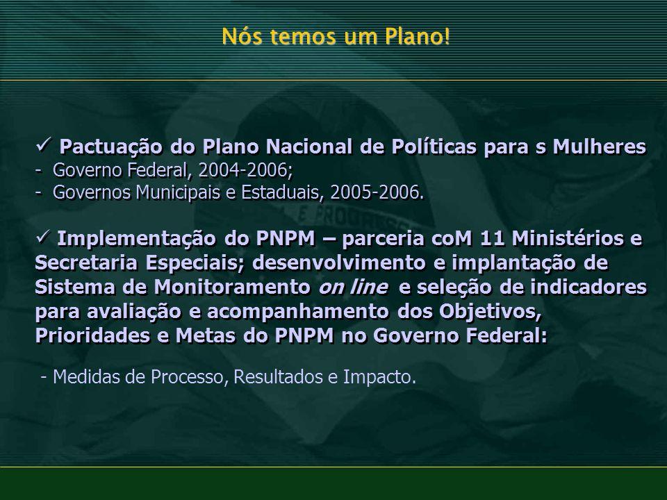 Nós temos um Plano! Pactuação do Plano Nacional de Políticas para s Mulheres - Governo Federal, 2004-2006; - Governos Municipais e Estaduais, 2005-200