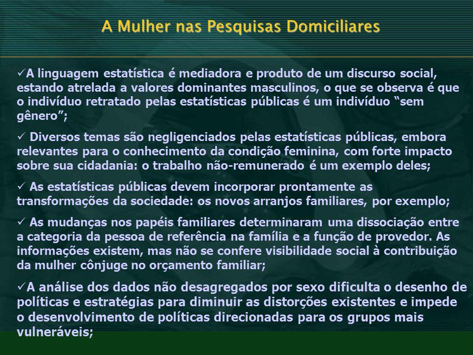 A Mulher nas Pesquisas Domiciliares A linguagem estatística é mediadora e produto de um discurso social, estando atrelada a valores dominantes masculi
