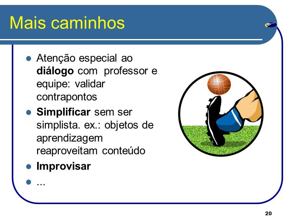 20 Mais caminhos Atenção especial ao diálogo com professor e equipe: validar contrapontos Simplificar sem ser simplista.