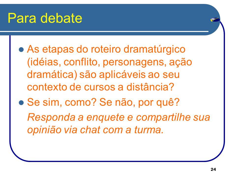 24 Para debate As etapas do roteiro dramatúrgico (idéias, conflito, personagens, ação dramática) são aplicáveis ao seu contexto de cursos a distância.