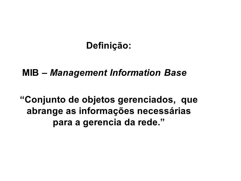 17 SNMP / MIB Definição: MIB – Management Information Base Conjunto de objetos gerenciados, que abrange as informações necessárias para a gerencia da rede.