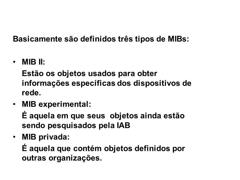 26 SNMP / Tipos de MIB Basicamente são definidos três tipos de MIBs: MIB II: Estão os objetos usados para obter informações específicas dos dispositivos de rede.