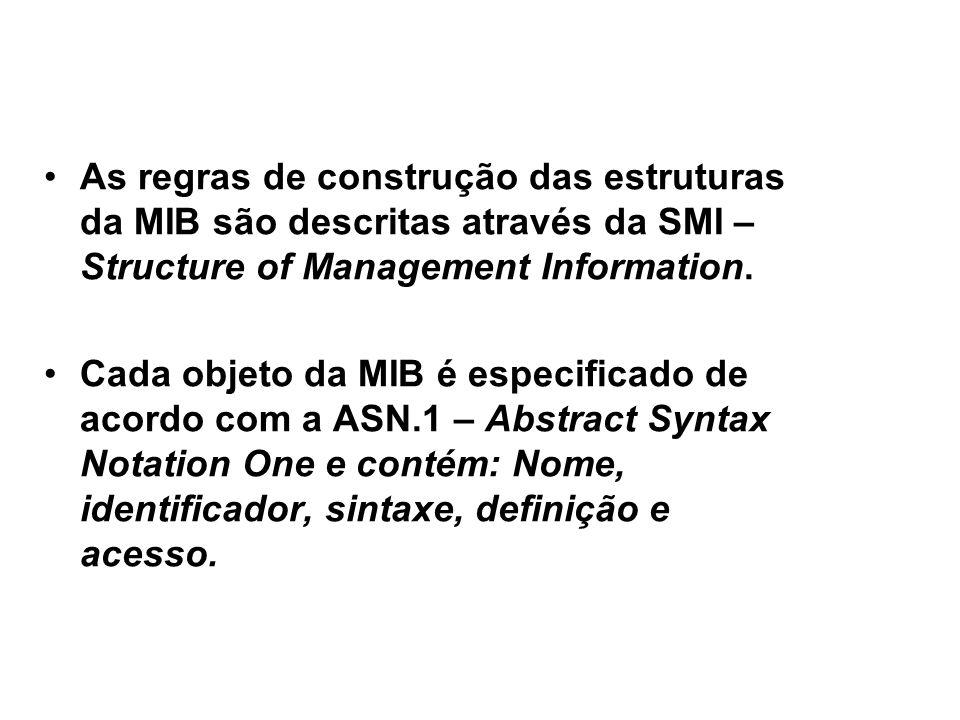 27 SNMP / SMI e ASN.1 As regras de construção das estruturas da MIB são descritas através da SMI – Structure of Management Information.