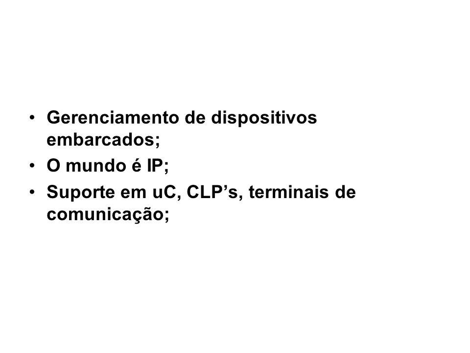 29 SNMP / Uso do SNMPv1 Gerenciamento de dispositivos embarcados; O mundo é IP; Suporte em uC, CLP's, terminais de comunicação;