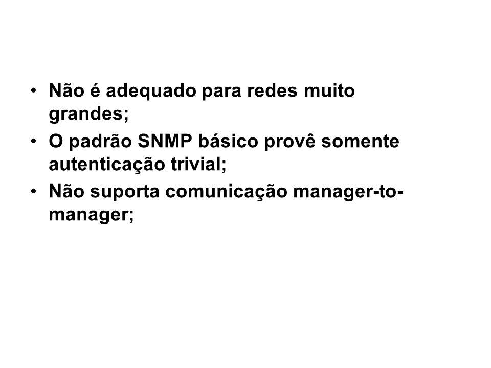 31 SNMP / desvantagens Não é adequado para redes muito grandes; O padrão SNMP básico provê somente autenticação trivial; Não suporta comunicação manager-to- manager;