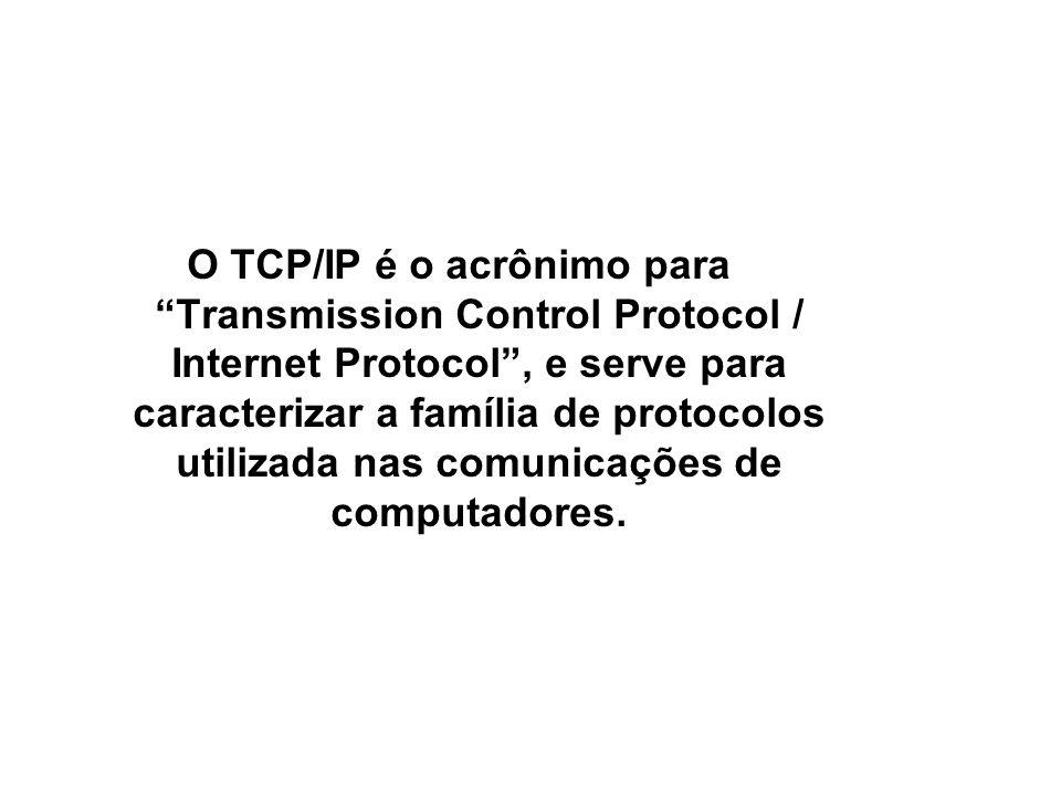 8 SNMP / TCP/IP O TCP/IP é o acrônimo para Transmission Control Protocol / Internet Protocol , e serve para caracterizar a família de protocolos utilizada nas comunicações de computadores.