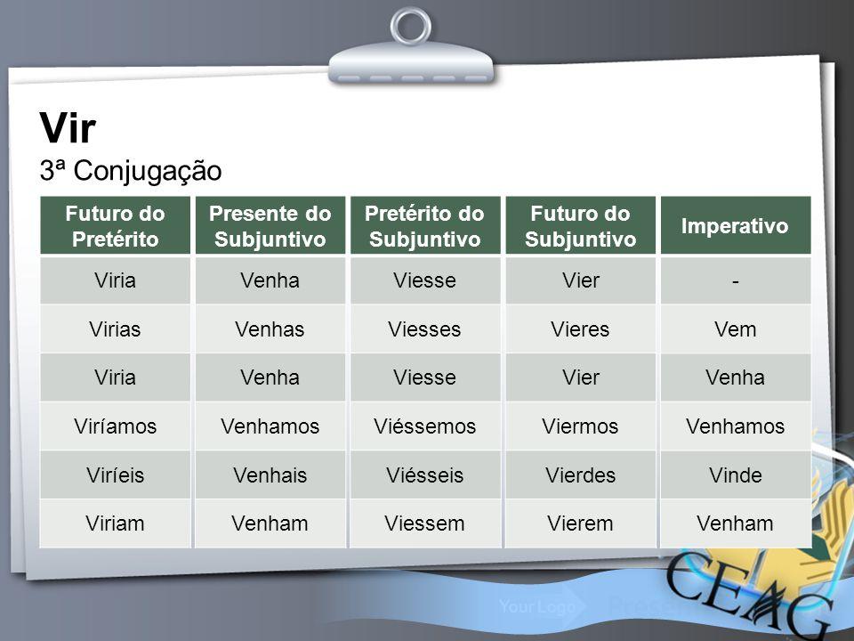 Your Logo Vir 3ª Conjugação Futuro do Pretérito Viria Virias Viria Viríamos Viríeis Viriam Presente do Subjuntivo Venha Venhas Venha Venhamos Venhais