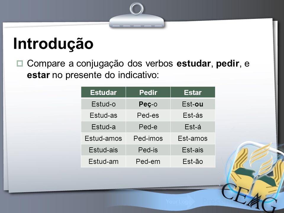 Your Logo Introdução  Compare a conjugação dos verbos estudar, pedir, e estar no presente do indicativo: EstudarPedirEstar Estud-oPeç-oEst-ou Estud-a
