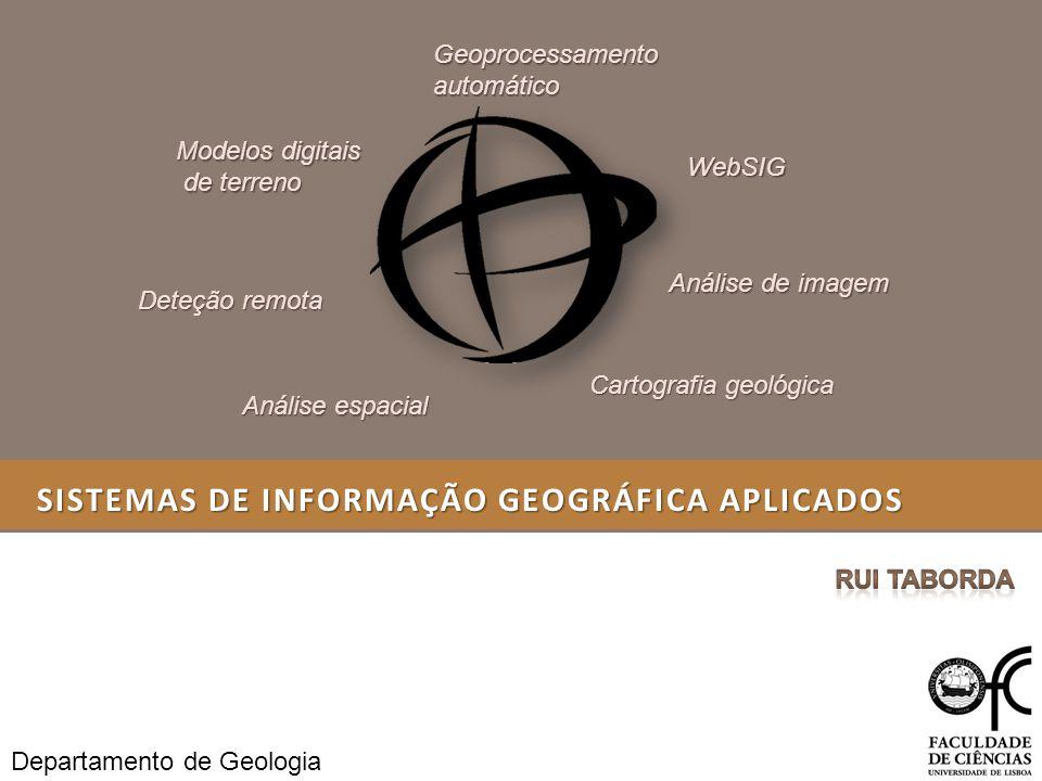 SISTEMAS DE INFORMAÇÃO GEOGRÁFICA APLICADOS Deteção remota GeoprocessamentoautomáticoWebSIG Modelos digitais de terreno de terreno Análise de imagem A