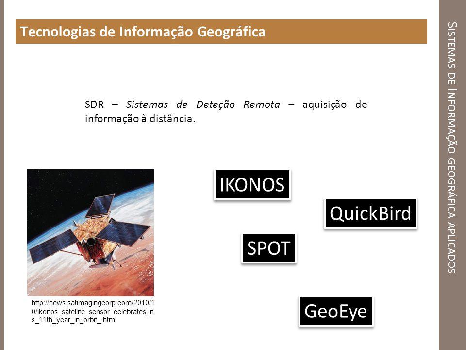 S ISTEMAS DE I NFORMAÇÃO GEOGRÁFICA APLICADOS Tecnologias de Informação Geográfica SDR – Sistemas de Deteção Remota – aquisição de informação à distân