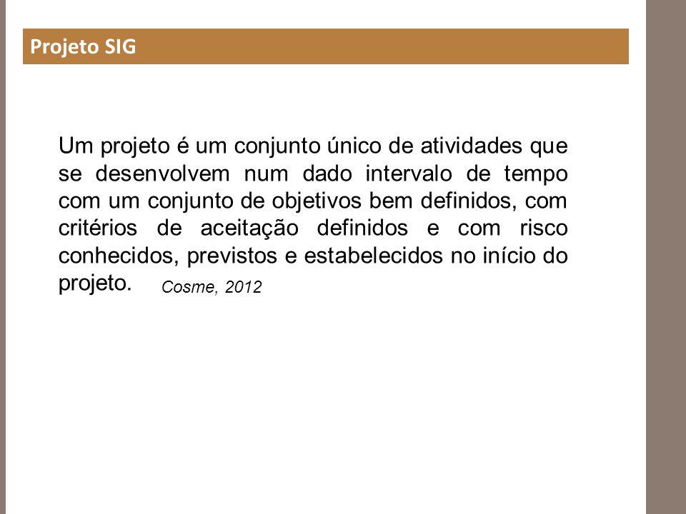 Projeto SIG Um projeto é um conjunto único de atividades que se desenvolvem num dado intervalo de tempo com um conjunto de objetivos bem definidos, co
