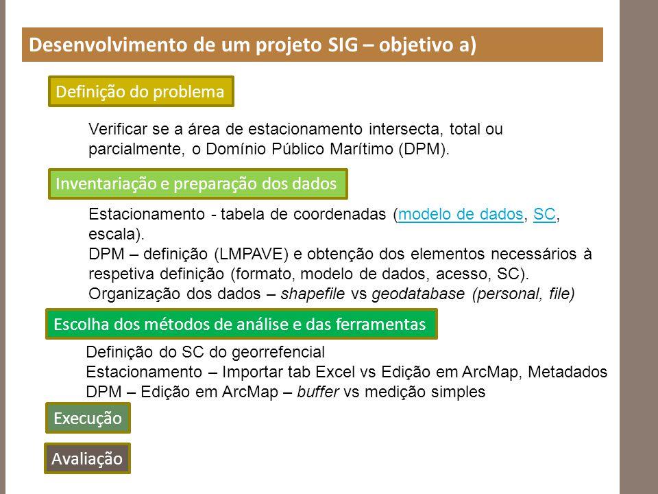Desenvolvimento de um projeto SIG – objetivo a) Verificar se a área de estacionamento intersecta, total ou parcialmente, o Domínio Público Marítimo (D