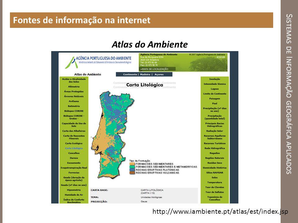 http://www.iambiente.pt/atlas/est/index.jsp Atlas do Ambiente S ISTEMAS DE I NFORMAÇÃO GEOGRÁFICA APLICADOS Fontes de informação na internet