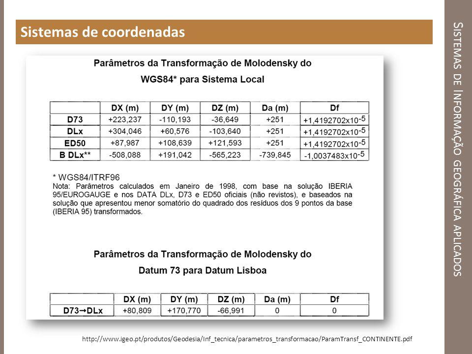 S ISTEMAS DE I NFORMAÇÃO GEOGRÁFICA APLICADOS Sistemas de coordenadas http://www.igeo.pt/produtos/Geodesia/Inf_tecnica/parametros_transformacao/ParamT