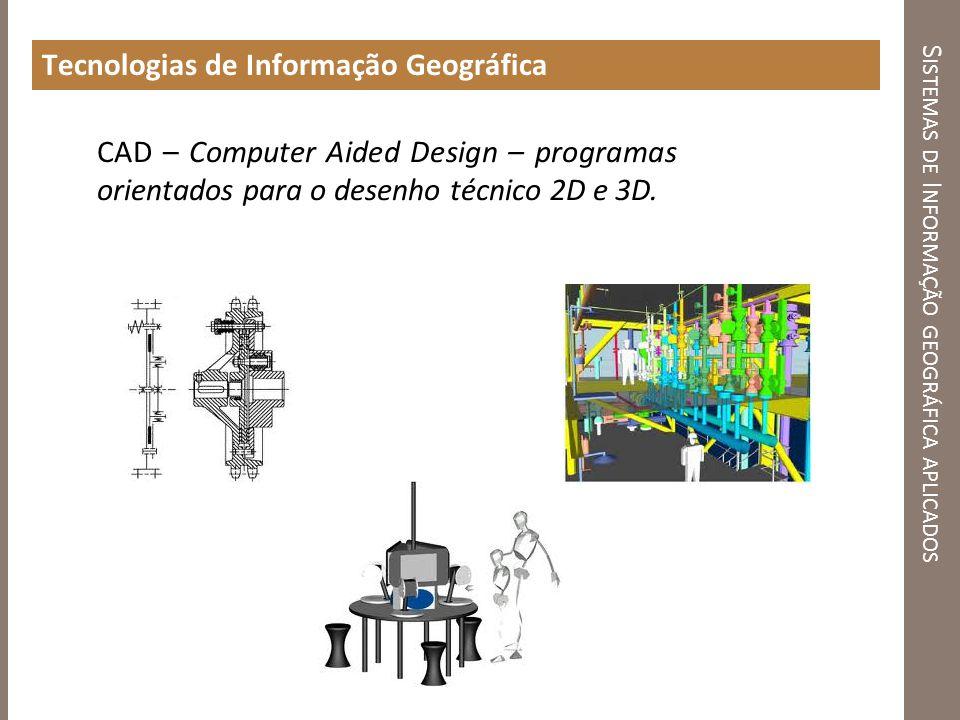 S ISTEMAS DE I NFORMAÇÃO GEOGRÁFICA APLICADOS Tecnologias de Informação Geográfica CAD – Computer Aided Design – programas orientados para o desenho t