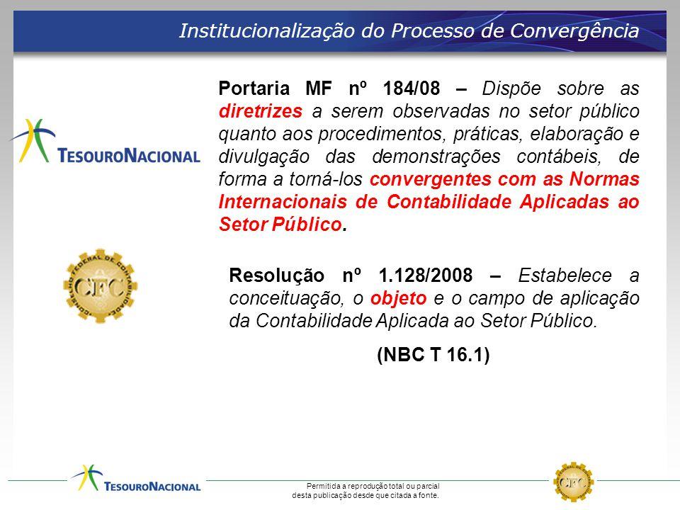 Permitida a reprodução total ou parcial desta publicação desde que citada a fonte. Institucionalização do Processo de Convergência Portaria MF nº 184/