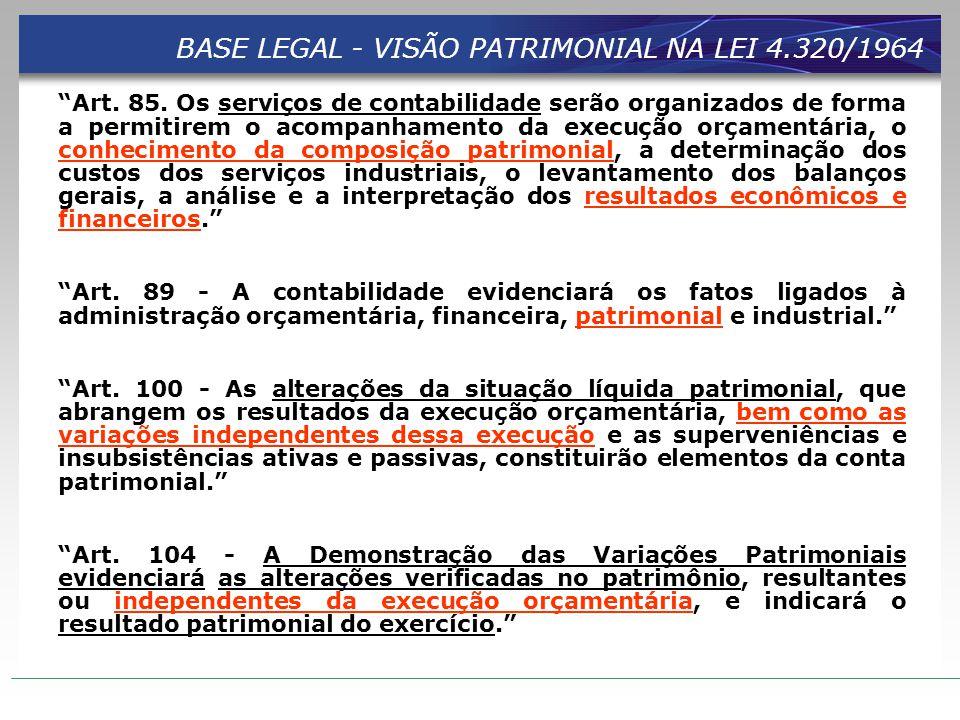 """BASE LEGAL - VISÃO PATRIMONIAL NA LEI 4.320/1964 """"Art. 85. Os serviços de contabilidade serão organizados de forma a permitirem o acompanhamento da ex"""