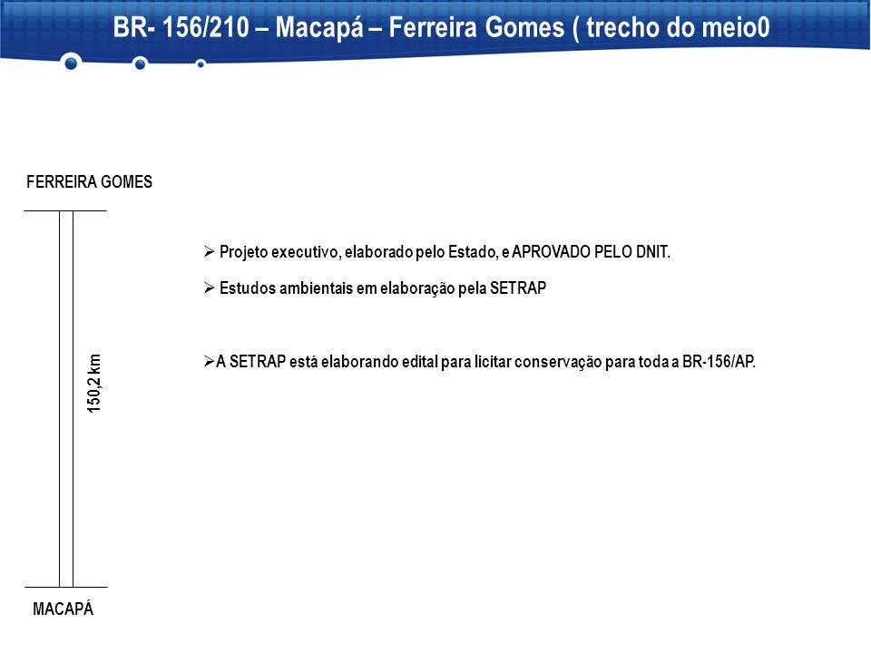 BR- 156/210 – Macapá – Ferreira Gomes ( trecho do meio0  Projeto executivo, elaborado pelo Estado, e APROVADO PELO DNIT.  Estudos ambientais em elab