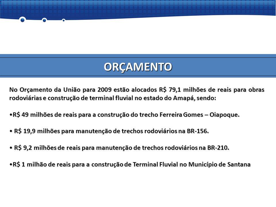 ORÇAMENTO No Orçamento da União para 2009 estão alocados R$ 79,1 milhões de reais para obras rodoviárias e construção de terminal fluvial no estado do