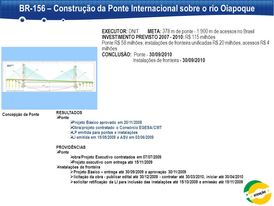 Concepção da Ponte EXECUTOR: DNIT META: 378 m de ponte - 1.900 m de acessos no Brasil  INVESTIMENTO PREVISTO 2007 - 2010: R$ 115 milhões Ponte R$ 58