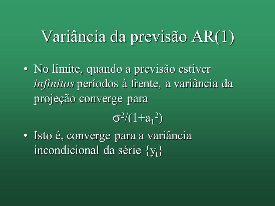 Variância da previsão AR(1) No limite, quando a previsão estiver infinitos períodos à frente, a variância da projeção converge paraNo limite, quando a previsão estiver infinitos períodos à frente, a variância da projeção converge para  2 /(1+a 1 2 ) Isto é, converge para a variância incondicional da série {y t }Isto é, converge para a variância incondicional da série {y t }