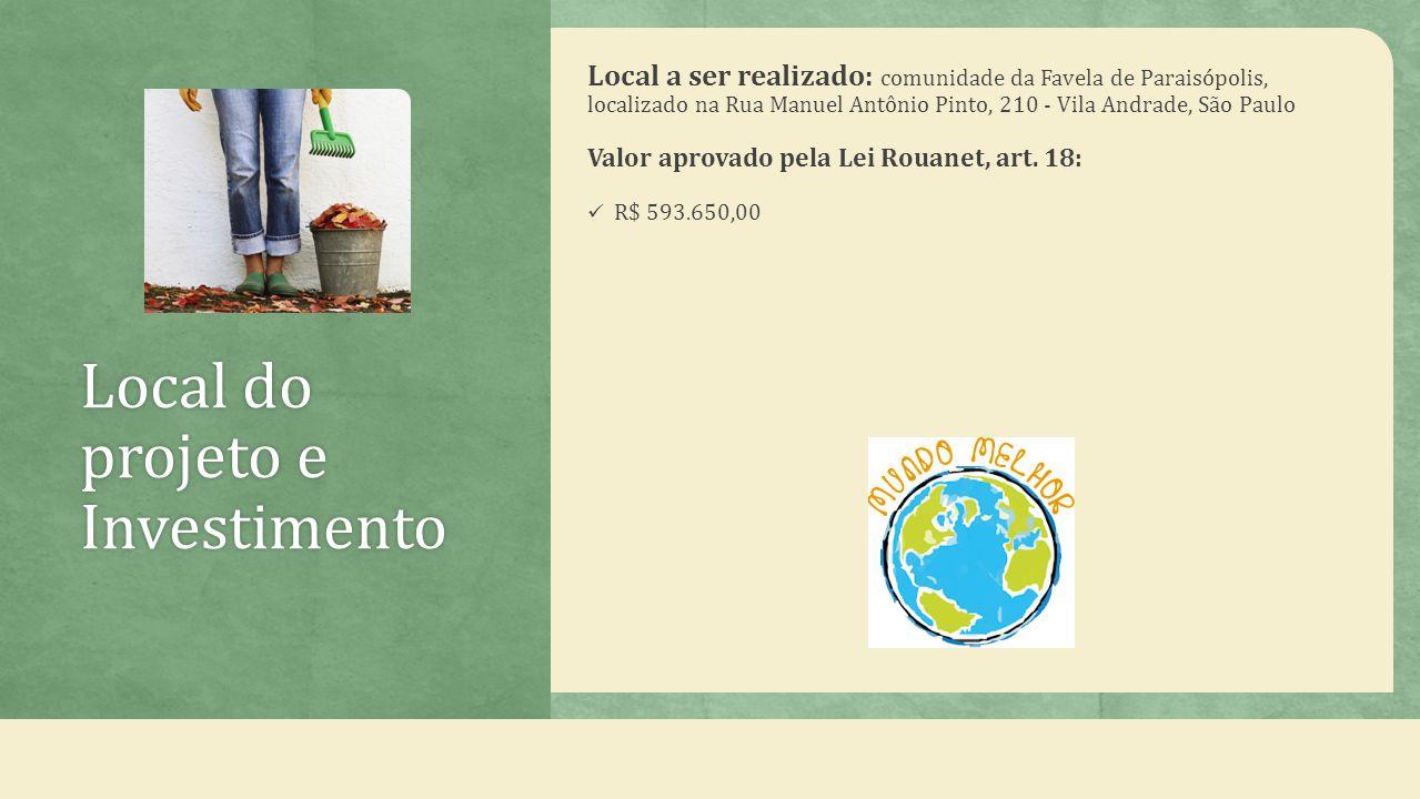 Local do projeto e Investimento Local a ser realizado: comunidade da Favela de Paraisópolis, localizado na Rua Manuel Antônio Pinto, 210 - Vila Andrade, São Paulo Valor aprovado pela Lei Rouanet, art.