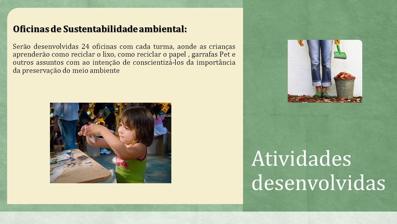 Atividades desenvolvidas Oficinas de Sustentabilidade ambiental: Serão desenvolvidas 24 oficinas com cada turma, aonde as crianças aprenderão como reciclar o lixo, como reciclar o papel, garrafas Pet e outros assuntos com ao intenção de conscientizá-los da importância da preservação do meio ambiente