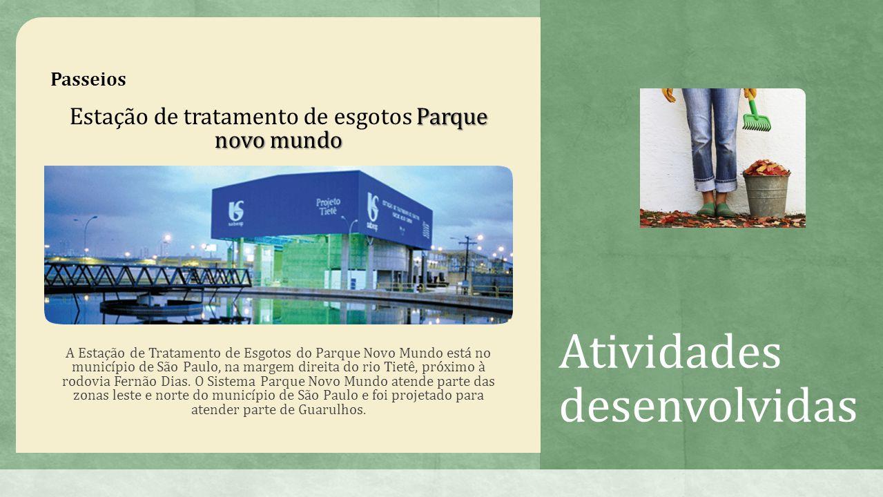 Atividades desenvolvidas Passeios Parque novo mundo Estação de tratamento de esgotos Parque novo mundo A Estação de Tratamento de Esgotos do Parque Novo Mundo está no município de São Paulo, na margem direita do rio Tietê, próximo à rodovia Fernão Dias.