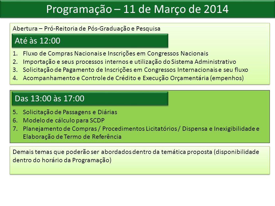 Programação – 11 de Março de 2014 Abertura – Pró-Reitoria de Pós-Graduação e Pesquisa 1.Fluxo de Compras Nacionais e Inscrições em Congressos Nacionai