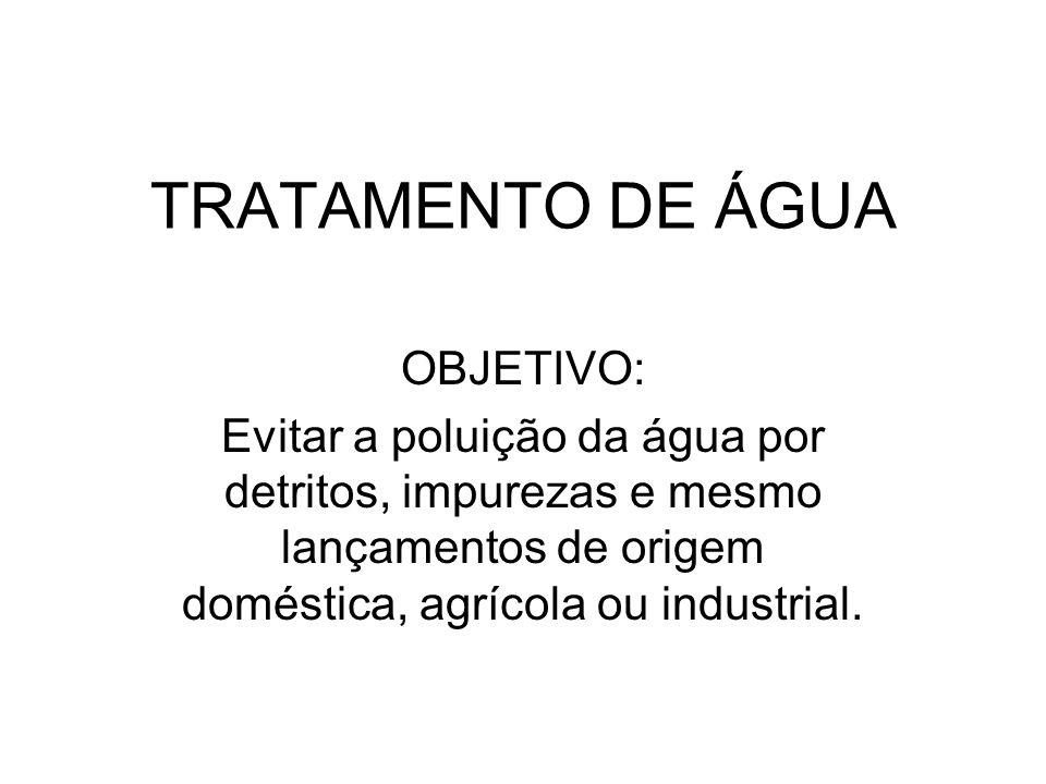 TRATAMENTO DE ÁGUA OBJETIVO: Evitar a poluição da água por detritos, impurezas e mesmo lançamentos de origem doméstica, agrícola ou industrial.