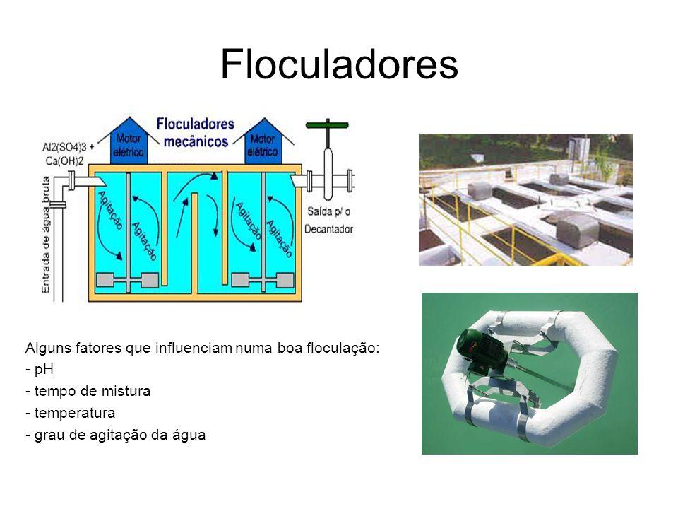Floculadores Alguns fatores que influenciam numa boa floculação: - pH - tempo de mistura - temperatura - grau de agitação da água
