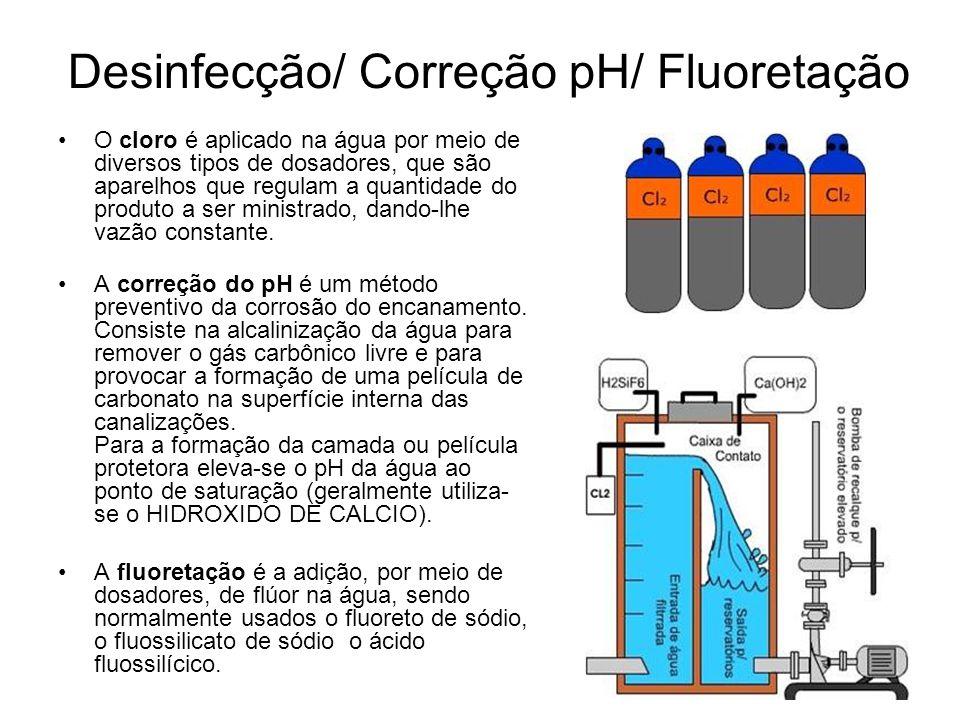 Desinfecção/ Correção pH/ Fluoretação O cloro é aplicado na água por meio de diversos tipos de dosadores, que são aparelhos que regulam a quantidade do produto a ser ministrado, dando-lhe vazão constante.