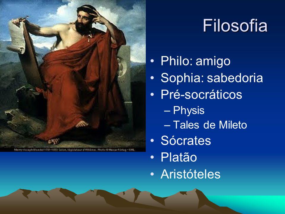 Filosofia Philo: amigo Sophia: sabedoria Pré-socráticos –Physis –Tales de Mileto Sócrates Platão Aristóteles