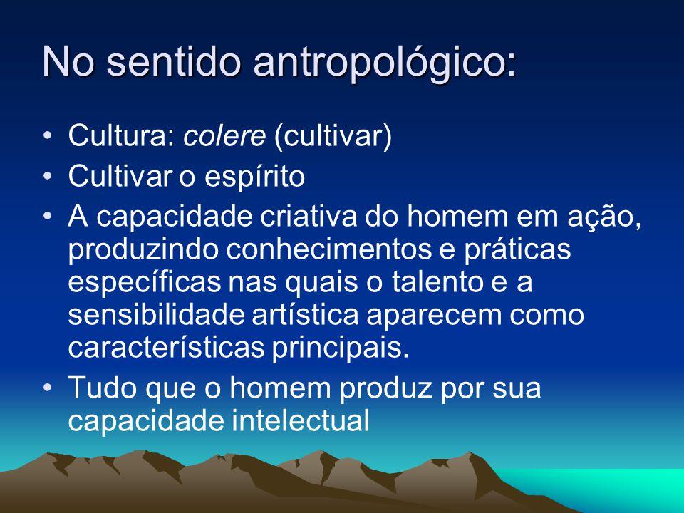 No sentido antropológico: Cultura: colere (cultivar) Cultivar o espírito A capacidade criativa do homem em ação, produzindo conhecimentos e práticas e