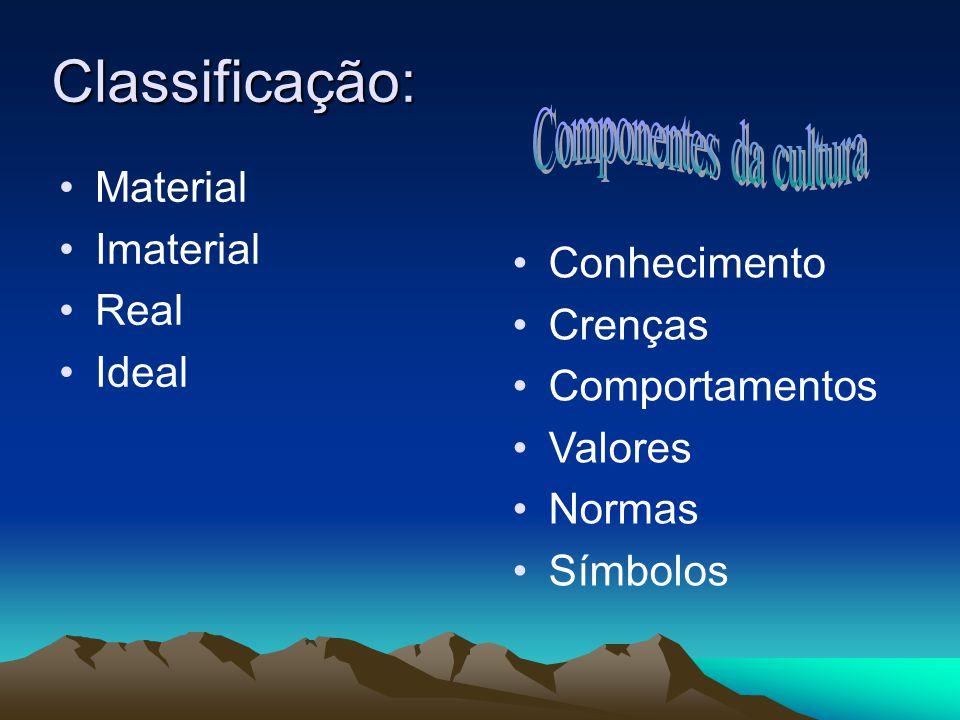 Classificação: Material Imaterial Real Ideal Conhecimento Crenças Comportamentos Valores Normas Símbolos