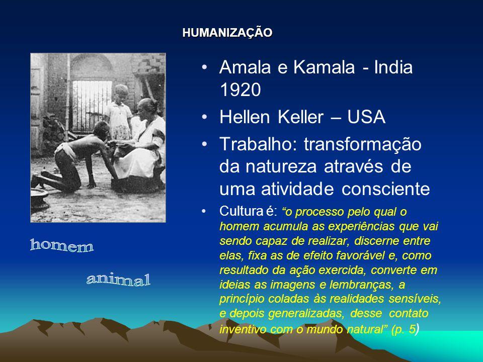 """Amala e Kamala - India 1920 Hellen Keller – USA Trabalho: transformação da natureza através de uma atividade consciente Cultura é: """"o processo pelo qu"""