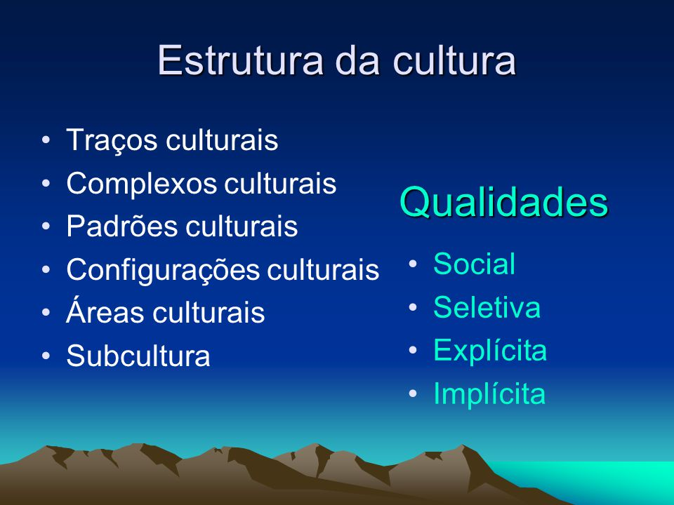 Estrutura da cultura Traços culturais Complexos culturais Padrões culturais Configurações culturais Áreas culturais Subcultura Qualidades Social Selet