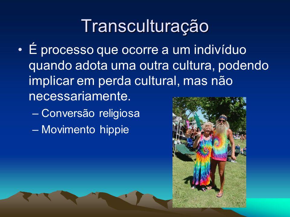 Transculturação É processo que ocorre a um indivíduo quando adota uma outra cultura, podendo implicar em perda cultural, mas não necessariamente. –Con