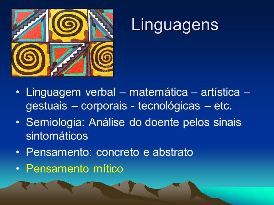 Linguagens Linguagem verbal – matemática – artística – gestuais – corporais - tecnológicas – etc. Semiologia: Análise do doente pelos sinais sintomáti