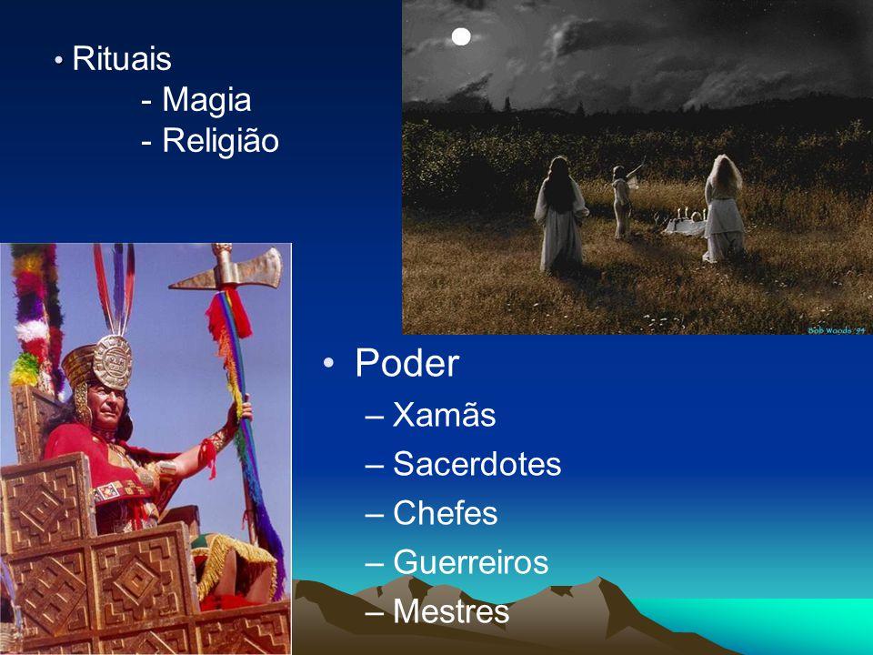 Rituais - Magia - Religião Poder –Xamãs –Sacerdotes –Chefes –Guerreiros –Mestres