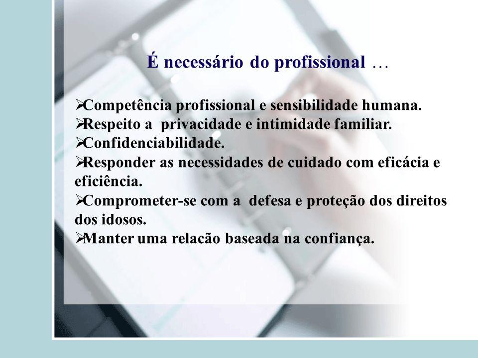 É necessário do profissional …  Competência profissional e sensibilidade humana.  Respeito a privacidade e intimidade familiar.  Confidenciabilidad