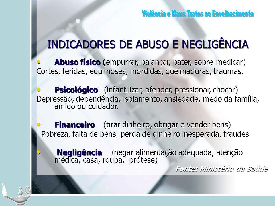 INDICADORES DE ABUSO E NEGLIGÊNCIA Abuso físico (empurrar, balançar, bater, sobre-medicar) Abuso físico (empurrar, balançar, bater, sobre-medicar) Cor