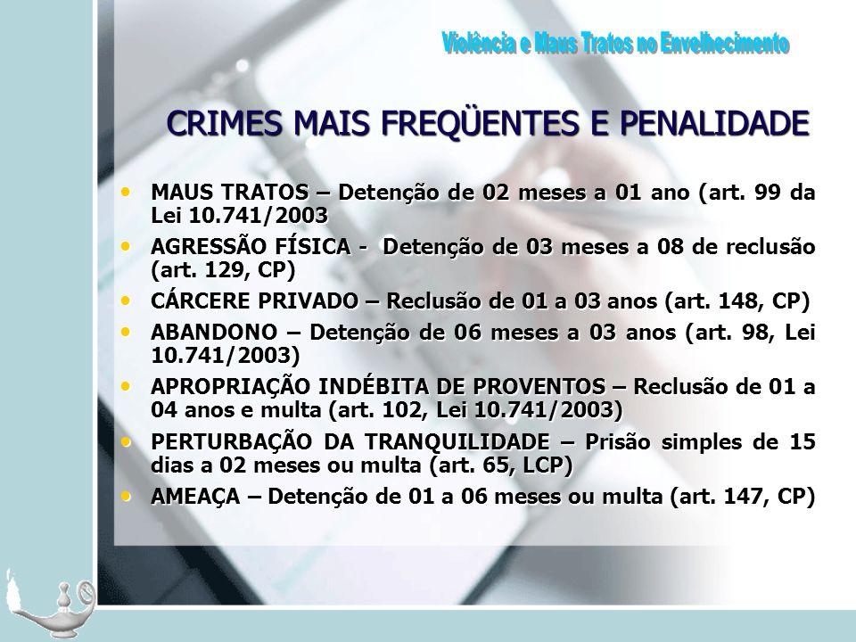CRIMES MAIS FREQÜENTES E PENALIDADE MAUS TRATOS – Detenção de 02 meses a 01 ano (art. 99 da Lei 10.741/2003 MAUS TRATOS – Detenção de 02 meses a 01 an