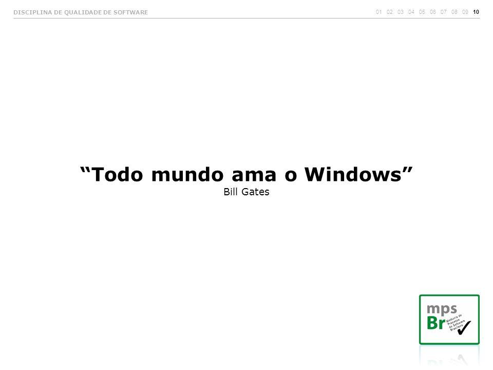 """""""Todo mundo ama o Windows"""" Bill Gates 01 02 03 04 05 06 07 08 09 10 DISCIPLINA DE QUALIDADE DE SOFTWARE"""