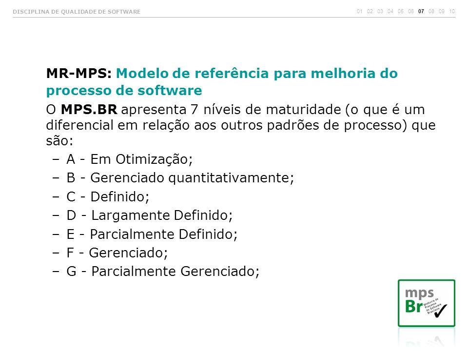 MR-MPS: Modelo de referência para melhoria do processo de software O MPS.BR apresenta 7 níveis de maturidade (o que é um diferencial em relação aos ou