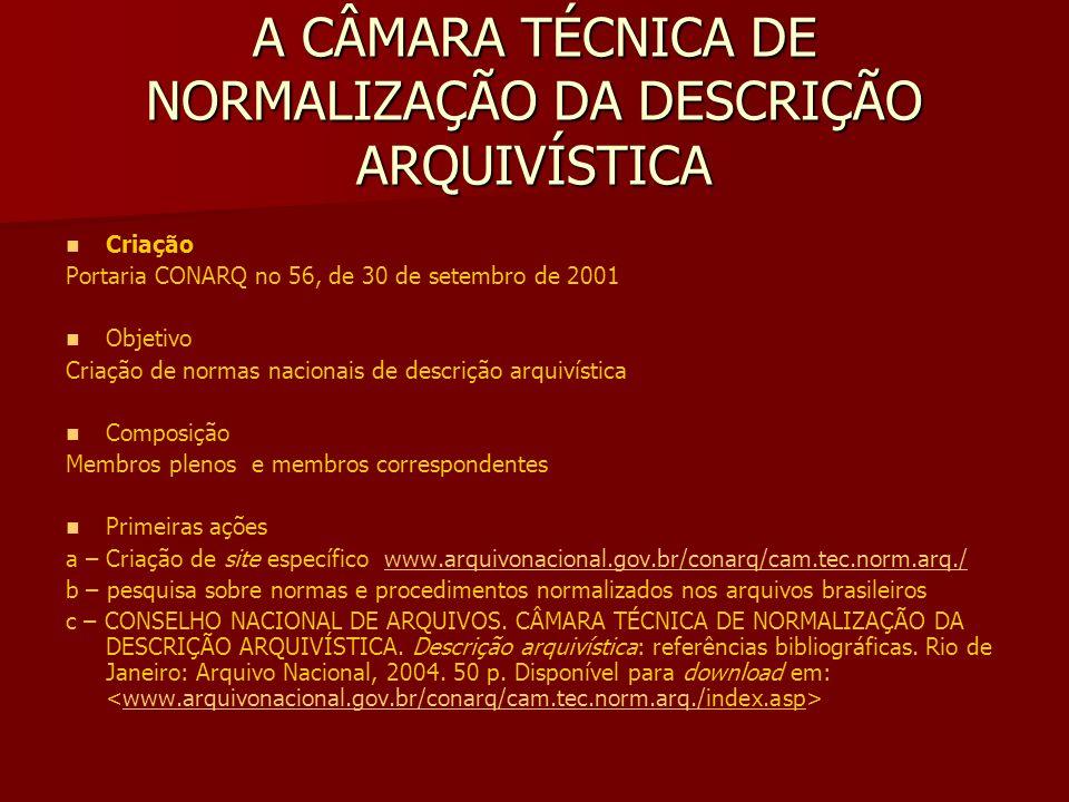 A CÂMARA TÉCNICA DE NORMALIZAÇÃO DA DESCRIÇÃO ARQUIVÍSTICA Criação Portaria CONARQ no 56, de 30 de setembro de 2001 Objetivo Criação de normas nacionais de descrição arquivística Composição Membros plenos e membros correspondentes Primeiras ações a – Criação de site específico www.arquivonacional.gov.br/conarq/cam.tec.norm.arq./www.arquivonacional.gov.br/conarq/cam.tec.norm.arq./ b – pesquisa sobre normas e procedimentos normalizados nos arquivos brasileiros c – CONSELHO NACIONAL DE ARQUIVOS.