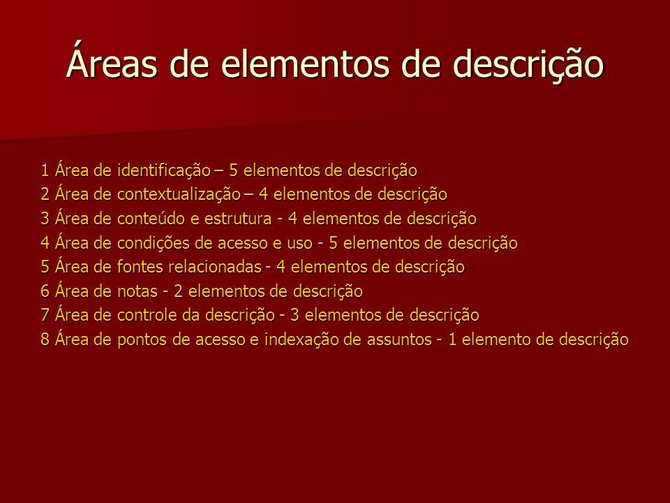 Áreas de elementos de descrição 1 Área de identificação – 5 elementos de descrição 2 Área de contextualização – 4 elementos de descrição 3 Área de conteúdo e estrutura - 4 elementos de descrição 4 Área de condições de acesso e uso - 5 elementos de descrição 5 Área de fontes relacionadas - 4 elementos de descrição 6 Área de notas - 2 elementos de descrição 7 Área de controle da descrição - 3 elementos de descrição 8 Área de pontos de acesso e indexação de assuntos - 1 elemento de descrição