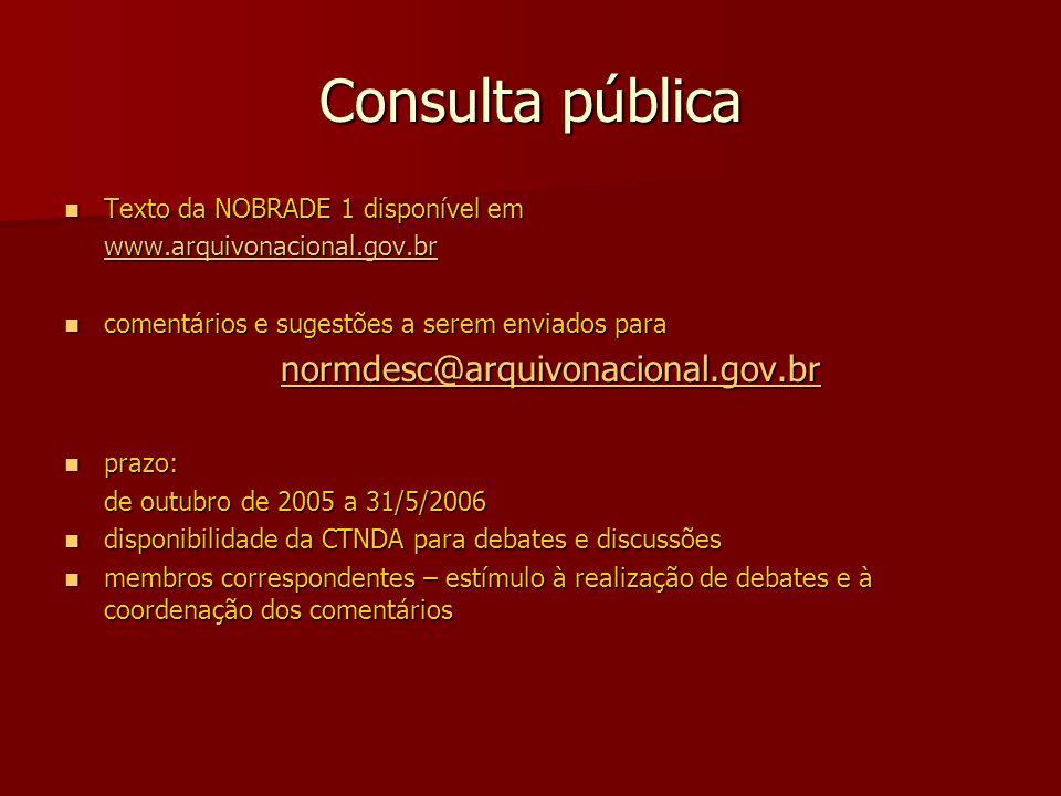 Consulta pública Texto da NOBRADE 1 disponível em Texto da NOBRADE 1 disponível em www.arquivonacional.gov.br comentários e sugestões a serem enviados para comentários e sugestões a serem enviados para normdesc@arquivonacional.gov.br prazo: prazo: de outubro de 2005 a 31/5/2006 de outubro de 2005 a 31/5/2006 disponibilidade da CTNDA para debates e discussões disponibilidade da CTNDA para debates e discussões membros correspondentes – estímulo à realização de debates e à coordenação dos comentários membros correspondentes – estímulo à realização de debates e à coordenação dos comentários