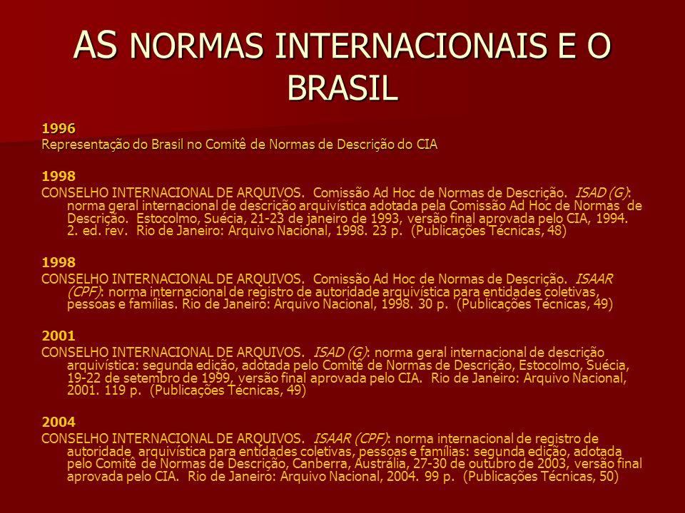 AS NORMAS INTERNACIONAIS E O BRASIL 1996 Representação do Brasil no Comitê de Normas de Descrição do CIA 1998 CONSELHO INTERNACIONAL DE ARQUIVOS.